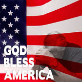 Dio Bles America - uomo w/Flag pregante Immagine Stock Libera da Diritti