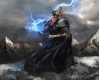 Dio del thor del fulmine Immagini Stock Libere da Diritti