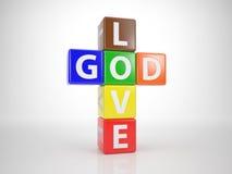 Dio ed amore da Letterdices 1 Immagine Stock