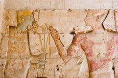 Dio egiziano antico Ptah con Seti Fotografie Stock Libere da Diritti