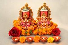 Dio indù Laxmi Ganesh Immagini Stock