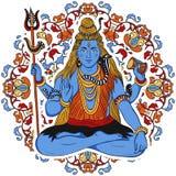 Dio indiano Shiva sopra il fondo decorato della mandala illustrazione vettoriale