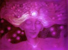 Dio porpora del vento stellato, disegno dettagliato ornamentale Fotografia Stock