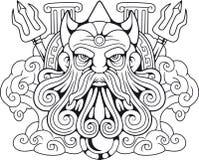 Dio Poseidon, signore del greco antico dei mari royalty illustrazione gratis