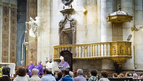 Diocesan Bishop Rafael Zornoza Boy celebrates the christian mass in Cadiz Cathedral. Andalusia, Spain. Stock Photo
