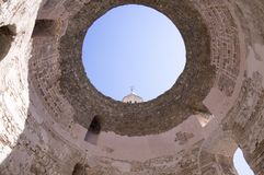 Diocletian palace, old historic town Split, Croatia, Europe. Architecture detail with circle and top od the tower Stock Photography