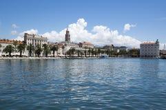 Diocletian palace, old historic town Split, Croatia, Europe. Summer sunny touristic season, marina with boats Stock Image