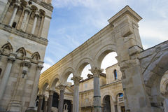 Diocletian palace ruins and cathedral bell tower, Split, Croatia royalty free stock images