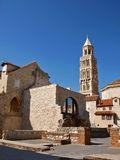 Diocletian palace in Split 1. View art most famous Diocletian palace in Split and bell tower of st Domnius (sv. Duje) , Croatia -Dalmatia at sunny day. Vertical Royalty Free Stock Image