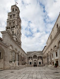 Diocletian Palace in Split. Interior of Diocletian Palace in Split with bell tower Royalty Free Stock Photography