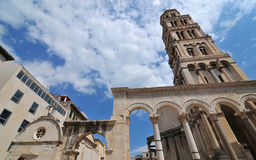 Diocletian's Palace. The centre of the UNESCO listed, palace built by the ancient roman emperor Diocletian, in Split Croatia, with colonade and tower Stock Image