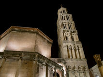 Diocletian's palace. The tower of the Cathedral of St. Duje (patron saint of Split) and parts of Diocletian's palace at night Stock Image