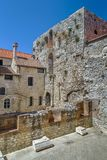 Diocletian`s Palace, Split, Croatia. Diocletian`s Palace is an ancient palace built for the Roman Emperor Diocletian at the turn of the fourth century AD, Split Stock Image