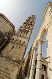 Diocletian's Palace. Roman Peristyle, and front of the Cathedral of Saint Domnius; the bell tower is the city's main symbol Royalty Free Stock Images