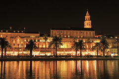 Diocletian's Palace, Split waterfront, Croatia. Diocletian's Palace at night, Split waterfront, Croatia Stock Photo