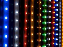 Diode arrays closeup. Colorful led neon on black background Stock Photo