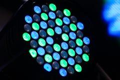 Diodi luminescenti verdi e blu che accendono l'attrezzatura della discoteca fotografia stock libera da diritti