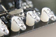Diodos emissores leves na placa de circuito impresso foto de stock royalty free