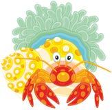 Diogene-granchio con un actinia Fotografia Stock