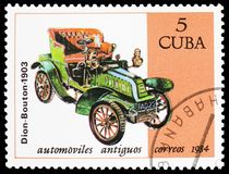 Dion-Bouton, 1903, Cars serie, circa 1984. MOSCOW, RUSSIA - MARCH 23, 2019: Postage stamp printed in Cuba shows Dion-Bouton, 1903, Cars serie, circa 1984 stock photos
