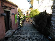 Dionisiou Solomou street. Noon in the old town of Corfu Royalty Free Stock Photos