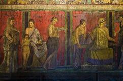 Dionysiac带状装饰,奥秘别墅,庞贝城 免版税库存照片