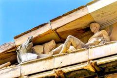 Dionysos Bacchus Horse Statues Parthenon Acropolis Aten Grekland Royaltyfri Fotografi