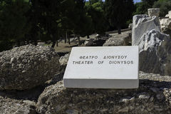 Dionysos sanctuary in Athens. Greece. Plaque pointing the site Royalty Free Stock Photo