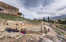 Dionysus剧院在上城下,雅典,希腊废墟的  库存照片