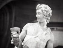Dionysus酒神酒在天窗的雕象画象 免版税库存图片