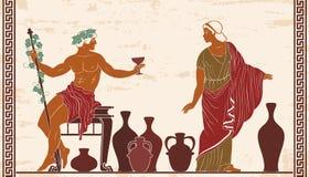 Dionysus and Ariadne. Heroes of ancient Greek myths Dionysus and Ariadne with jugs of wine stock illustration