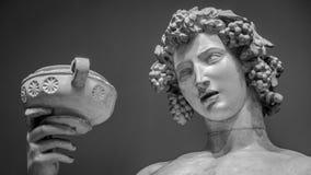 Dionysus Bacchus Wine statue portrait.  Stock Photo