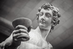 Dionysus Bacchus Wine statue portrait in Louvre Royalty Free Stock Images