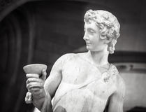 Dionysus Bacchus Wine statue portrait in Louvre.  Royalty Free Stock Images