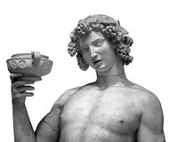 Dionysus Bacchus Wine statue portrait on white.  Stock Photography