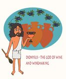 Dionysus the god of wine and winemaking cartoon. Dionysus the god of wine and winemaking, funny vector cartoon of character from Greek mythology royalty free illustration