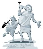 Dionysus and satyr. Greek god  on white background. Vector flat gray illustration Stock Images