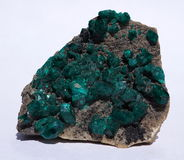 Dioptase crystal cluster Royalty Free Stock Photography