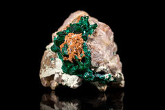 Dioptase mineral stone, bedrock, black background, healing gemst. One, reflections Royalty Free Stock Photo