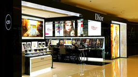Dior beauty care products outlet. A collection of christian diors prestigious skincare, makeup, fragrance and related care products for sale at the prestigious Royalty Free Stock Photos