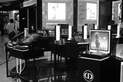 Dior cosmetic counter black and white image Stock Photos