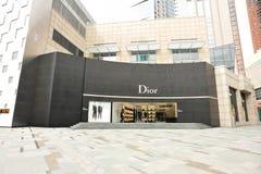 Dior en louis vuitton de winkelbouw Stock Afbeelding