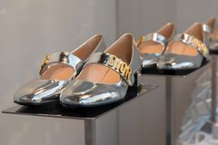 Dior kobiet ` s buty, nowy inkasowy nadokienny pokaz Zdjęcia Stock