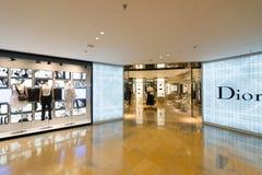 Dior lager i den Stillahavs- ställeshoppinggallerian, Hong Kong Arkivfoto