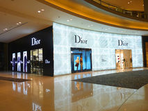 Dior - Luxury Fashion Brand. Dubai - 6 SEPTEMBER 2010: Dior fashion boutique in Dubai on 06.09.2010. Dior operates about 160 boutiques worldwide Royalty Free Stock Images