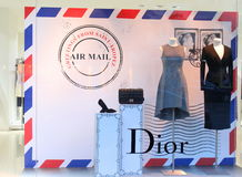 Dior - luxury fashion brand. Dior fashion boutique in Bucharest, Romania Royalty Free Stock Photography