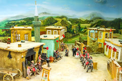 The diorama of the celebration in village Stock Images