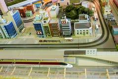 Diorama de la ciudad del tren de bala imagen de archivo libre de regalías