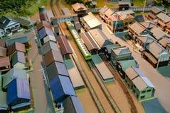 Diorama del tren del pueblo Imagenes de archivo