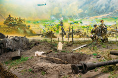 Diorama depicting the defeat of Nazi troops in Belarus. Belarusian Museum. Minsk, Belarus - December 20, 2015: Diorama depicting the defeat of Nazi troops in Royalty Free Stock Images